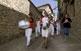 Músics durant la festa major de la Pobla de Roda.