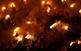 La plaça de Sant Pere de Berga es converteix en una espiral de foc durant les festes de la Patum, per Corpus.