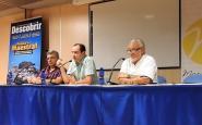 Vicent Sanz, Joan Morales i Joan Ort�, en un moment de la presentaci� de la revista, a Vinar�s