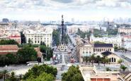 Una imatge a�ria de Barcelona, amb el monument a Colom al mig