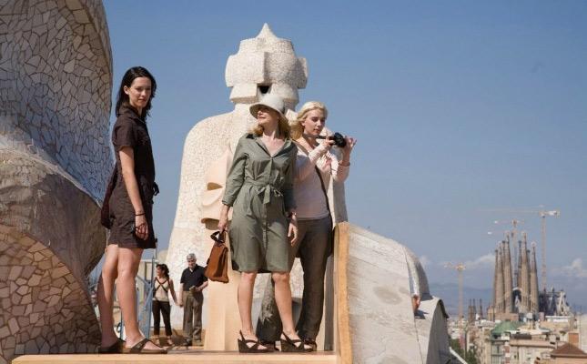 Les protagonistes de 'Vicky Cristina Barcelona' visiten el terrat de la Pedrera