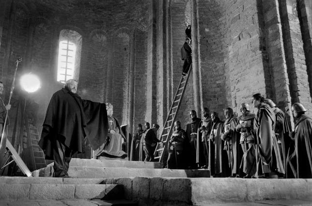 Orson Welles durant el rodatge al castell de Cardona