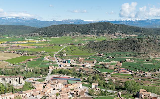 La vista des del castell de Cardona, amb la vall del Cardener i el Pirineu