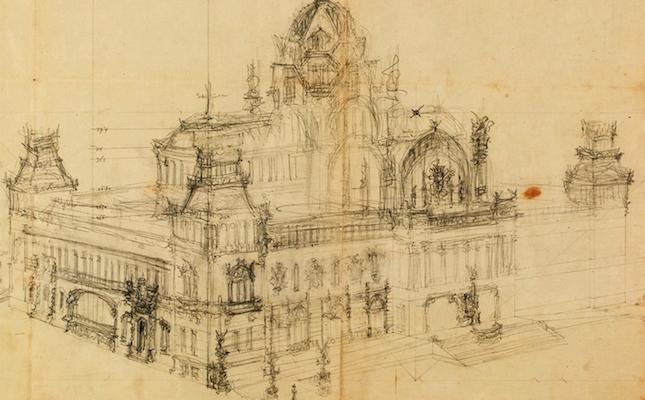 L'esbós d'un edifici projectat per Lluís Domènech i Montaner