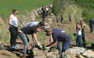 Un grup de voluntaris restaura una paret de pedra seca, al Pallars