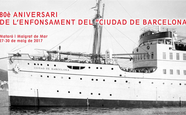 Detall del cartell de l'activitat amb el 'Ciutat de Barcelona' de fons