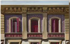 Pintura realista de la façana d'un edifici de l'Eixample