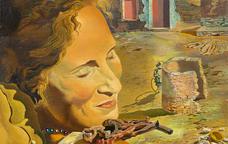 Retrat de Gala amb dues costelles de xai en equilibri sobre la seva espatlla