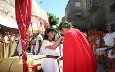 Recreació històrica durant el Mercat Romà de Iesso