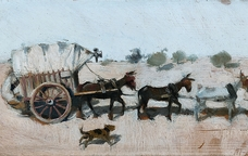 Fragment de 'Carro amb vuit mules de tir' de Ramon Casas