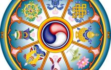Il·lustració dels vuit símbols dels bons auspicis que cal col·locar repartits per la casa.